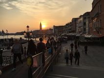 Sunset over Venice. Romantic evening in Venice Royalty Free Stock Photos