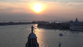 Sunset over Venice. View from the Cathedral of San Giorgio Maggiore. Italy stock video footage