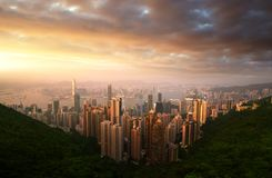 Sunset over Victoria Harbor from Victoria Peak Stock Photo
