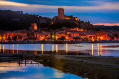 Sunset over the village of Gruissan Royalty Free Stock Photos