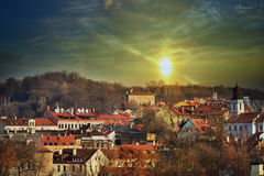 Sunset  over the Vilnius Royalty Free Stock Photography