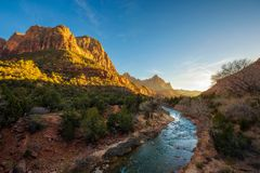 Sunset Over the Virgin River in Zion National Park Royalty Free Stock Images