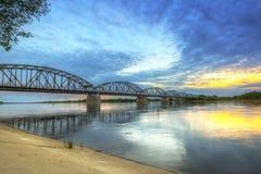 Sunset over Vistula river in Grudziadz Royalty Free Stock Photo