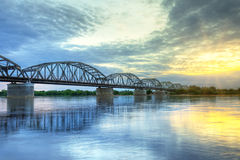 Sunset over Vistula river in Grudziadz Royalty Free Stock Image