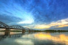 Sunset over Vistula river in Grudziadz Royalty Free Stock Images