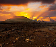 Sunset over volcano Royalty Free Stock Images