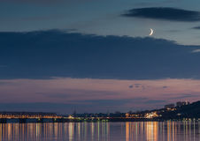 Sunset over Volga River during blue hour in Ulyanovsk Stock Photography
