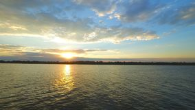 Sunset over a Volga-river nar Astrakhan Russia Timelapse stock footage