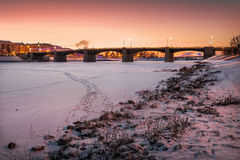 Sunset over the Volga. Sunset over winter river Volga and sunset pink sky Royalty Free Stock Images
