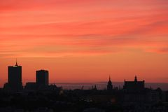 Sunset over Warsaw city. Sunset over Warsaw castle, Poland royalty free stock images