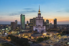 Sunset over Warsaw city Stock Image