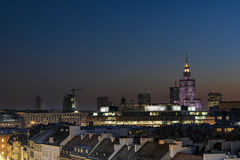 Sunset over Warsaw downtown Royalty Free Stock Photos