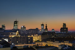 Sunset over Warsaw downtown Royalty Free Stock Image