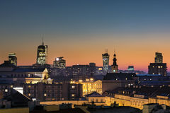 Sunset over Warsaw downtown Royalty Free Stock Images