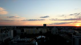 Sunset over Warsaw. Panorama of Warsaw at sunset stock video footage
