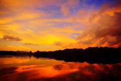 Sunset over water royalty free stock photo