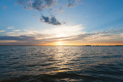 Sunset over water. From `Delta del Po`, Italian landscape. water and sky Stock Image