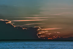 Sunset. Over the water of the Kiev reservoir Royalty Free Stock Images