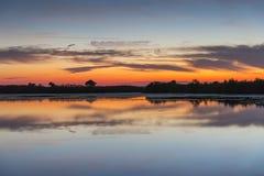 Sunset over water - Merritt Island Wildlife Refuge, Florida stock photos