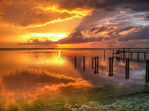 Sunset over water Royalty Free Stock Photos