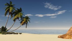 Sunset over the water. Tropical beach with palm trees at sunset Stock Photos