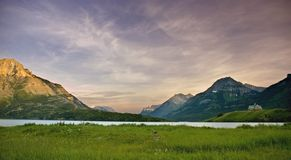 Sunset over Waterton lake royalty free stock photos