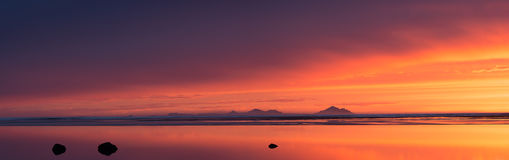 Sunset over the Westman Islands Stock Images