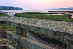 Sunset over wetlands near belfair washington seen from lookout. With wooden railings royalty free stock image