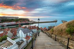 Free Sunset Over Whitby Harbour Stock Photos - 129192173