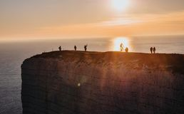 Sunset over the white cliffs of Seven Sisters in England stock photos