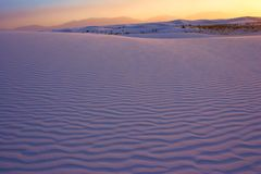Sunset over White Sands. Sunset at the White Sands National Monument, New Mexico, USA stock photo