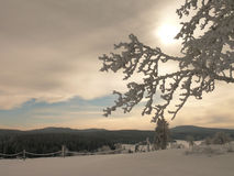 Sunset over white snowy winter landscape Stock Photos