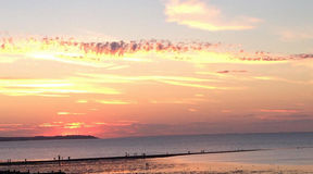 Sunset Over Whitstable. This photo shows a beautiful sunset over Kent stock photography