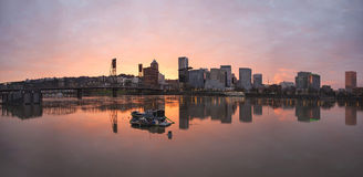Sunset Over Willamette River in Portland Stock Image
