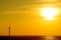 Sunset over Wind farm Royalty Free Stock Photo