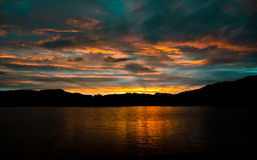 Sunset over Windermere. Sunset over the fells and Lake Windermere Royalty Free Stock Photos