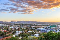 Sunset over Windhoek city panorama with mountains in the background, Windhoek, Namibia stock image