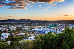 Sunset over Windhoek city panorama with mountains in the backgro. Und, Windhoek, Namibia stock photography