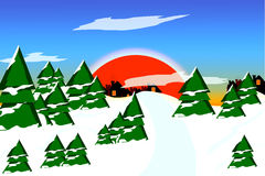 Sunset over a winter forest. Cartoon background Royalty Free Stock Image
