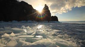 Sunset over winter lake Baikal. stock video