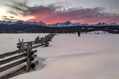 Sunset over a winter mountain sceen in Idaho Stock Images