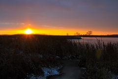 Sunset over the winter river Royalty Free Stock Images