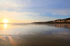 Sunset over woolacombe beach in devon Royalty Free Stock Photography