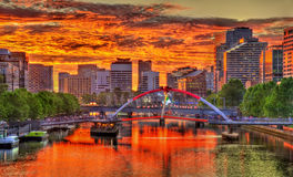 Sunset over the Yarra River in Melbourne, Australia. Sunset over the Yarra River in Melbourne - Australia, Victoria Stock Photo