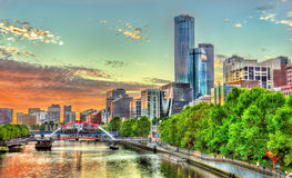 Sunset over the Yarra River in Melbourne, Australia. Sunset over the Yarra River in Melbourne - Australia, Victoria Royalty Free Stock Photography