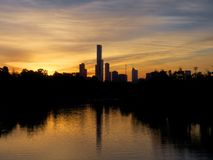 Sunset over the yarra river Royalty Free Stock Image