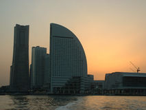 Sunset over Yokohama. Ocean view of Landmark Tower, the highest building in Japan Stock Photo
