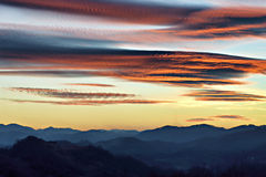 Sunset over Zagorje, Croatia. Sunset over distant mountains in rural Croatia - Zagorje Royalty Free Stock Image