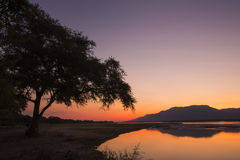 Sunset over the Zambezi river Royalty Free Stock Photography