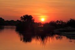 Sunset over the Zambezi river Royalty Free Stock Photography